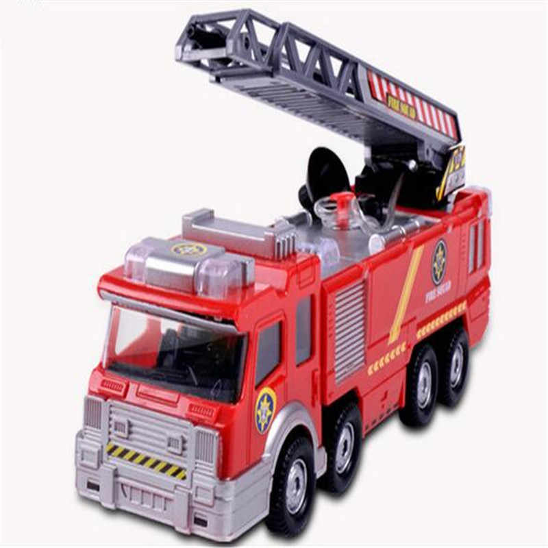1x Electric Fire Truck Toy For Kid Extending Ladder Flashing Lights Sirens With Water Pump Hose To Shoot Water Bump