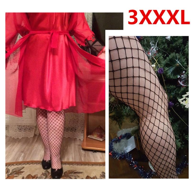 Plus Size XXXL Black Sexy Open Crotch Fishnet Pantyhose Tights Exotic Apparel Net Tights Hosiery Large Big Size Sexy Women
