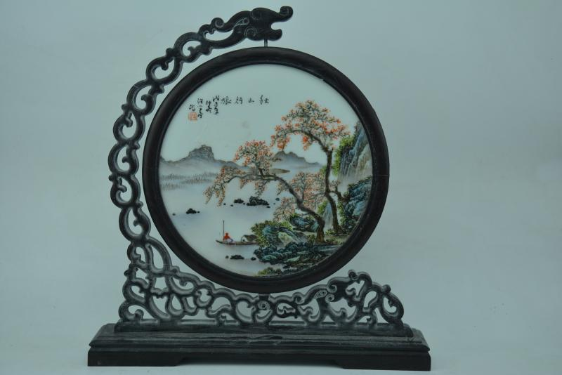 Antique Old Chinese Porcelain board painting #4,Autumn landscape,hand painted crafts,home Decoration,collection & adornment