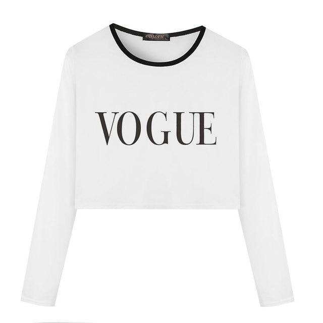 6bc311c08c3fa3 Women White Tshirt New Fashion VOGUE Printed Ulzzang Harajuku Kawaii T Shirt  Long Sleeve Crop Top Casual Female Cropped Tee Tops