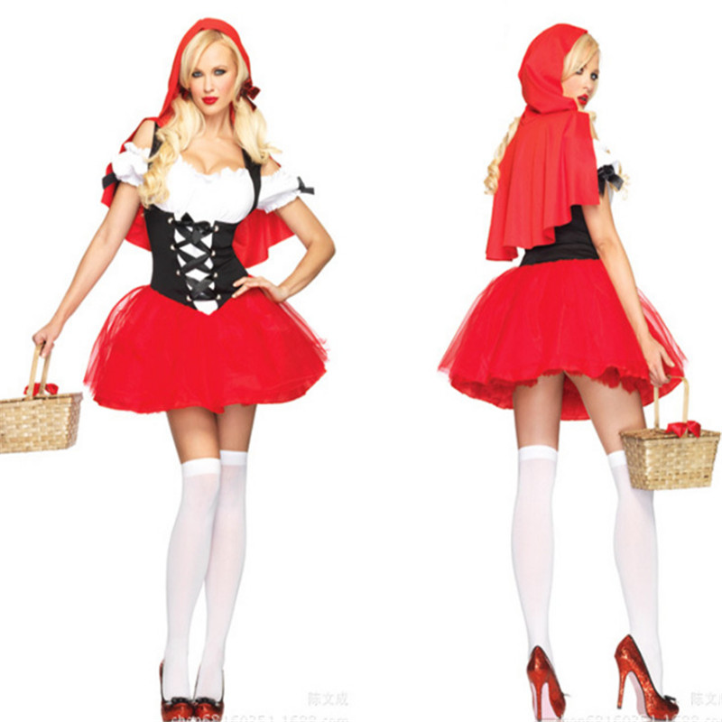 high quality Little Red Riding Hood cosaly clothing dance drama costumes Halloween organza tutu adult Small Red Cap fancy dress