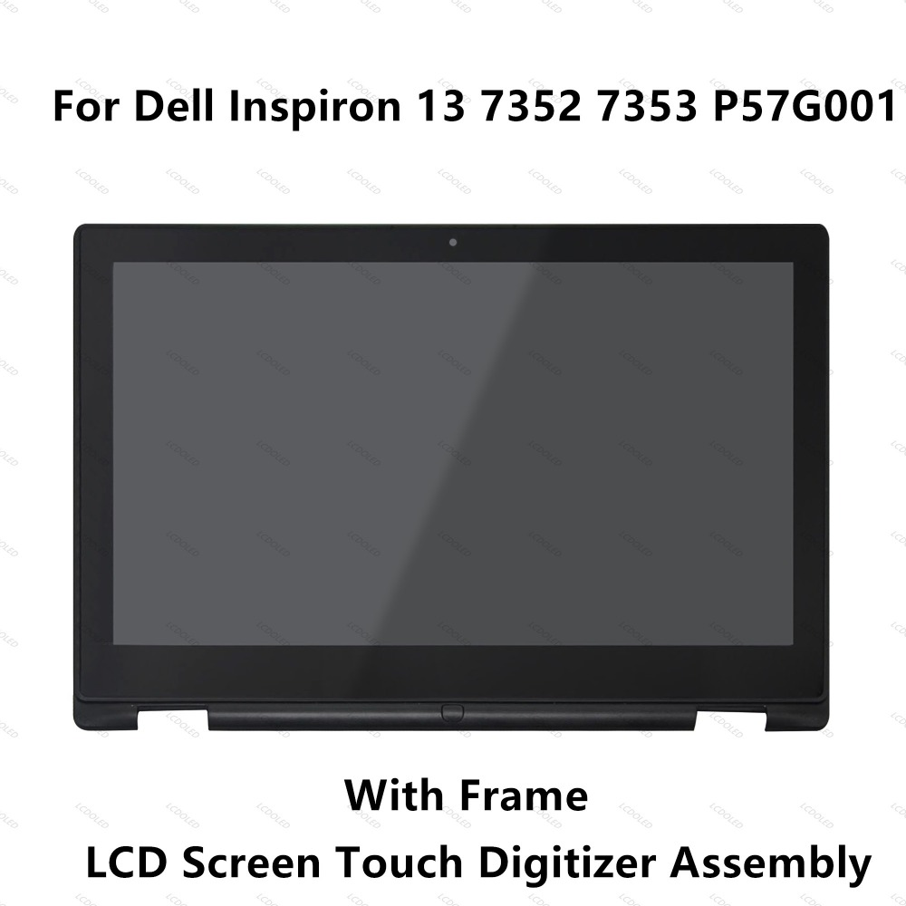 13.3'' For Dell Inspiron 13 7352 7353 P57G001 Full IPS LCD Display Screen Touch Glass Digitizer Panel Assembly+Frame Replacement 15 6 4k ips led lcd screen with touch glass digitizer for dell inspiron 15 7559 wy3n4 4k