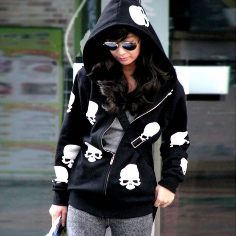New Fashion Women Hoodies Sweatshirt Autumn Winter Long Sleeves Zip-up Skull Head Printed Moletom Feminino