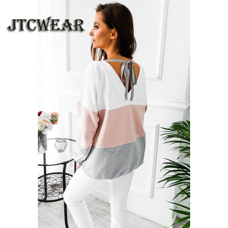 JTCWEAR Autumn Winter New Woman V Back Long Sleeve Contrast 3 Colors Patchwork Sexy Casual Lady