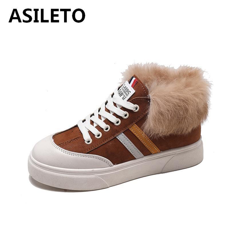2e70a22387ce07 En Peluche G102 Asileto Chaussures Black Fourrure D'hiver À Lacets Appartements  Casual Mocassins Femmes Brown dark Troupeau 7vRx7PB