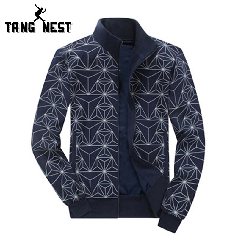 TANGNEST 2018 Casual Geometric Print Fashion Men Hooded Comfortable Good Quality Sweatshirts Male Plus Big Size 6XL MWW866
