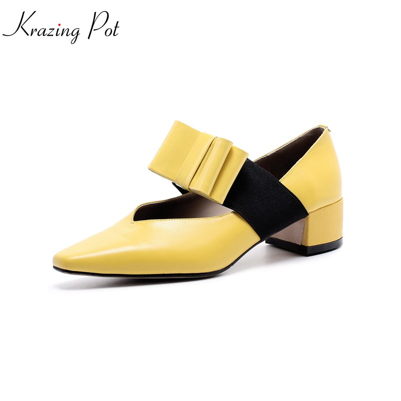 KRAZING POT genuine leather fashion med heels party luxury square toe wedding sweet brand women pumps western style shoes L59 krazing pot genuine leather sheep skin thick high heels square toe zipper boots women superstar party western mid calf boots l17