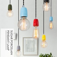 Simple Ceramic Enamel Lamp Modern LED Pendant Light Edison Industrial Wind HangLamp Dining Room Lights Antique Pendant Lighting