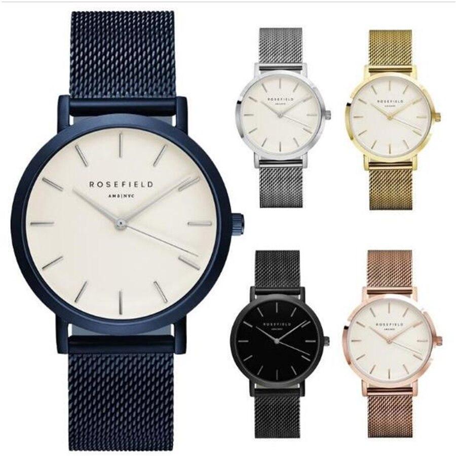 Fashion Metal Mesh ROSEFIELD Watch Women Men Ladies Luxury Brand Quartz Watch Relogio Feminino Masculino Montre
