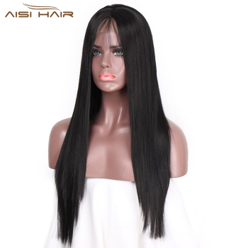 I's a wig Natural  Front Lace Synthetic Wigs Long Black Middle Part Wig High Temperature Fiber  Braided Wigs for Women