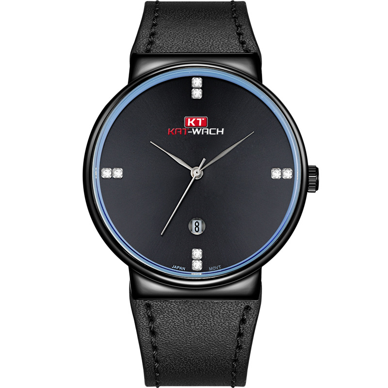 все цены на KAT-WACH Fashion Watch Black Metal Case with Diamonds Dial Date Function Quartz Movement Slim Watch for Men онлайн
