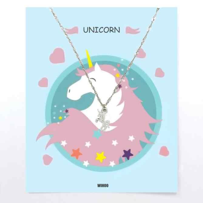 Eenhoorn Ketting Voor Kinderen Hanger Gouden Kinderen Vrouw Meisjes Jongens Paard Mode Trend Card Sieraden Gift Kids Kleurrijke