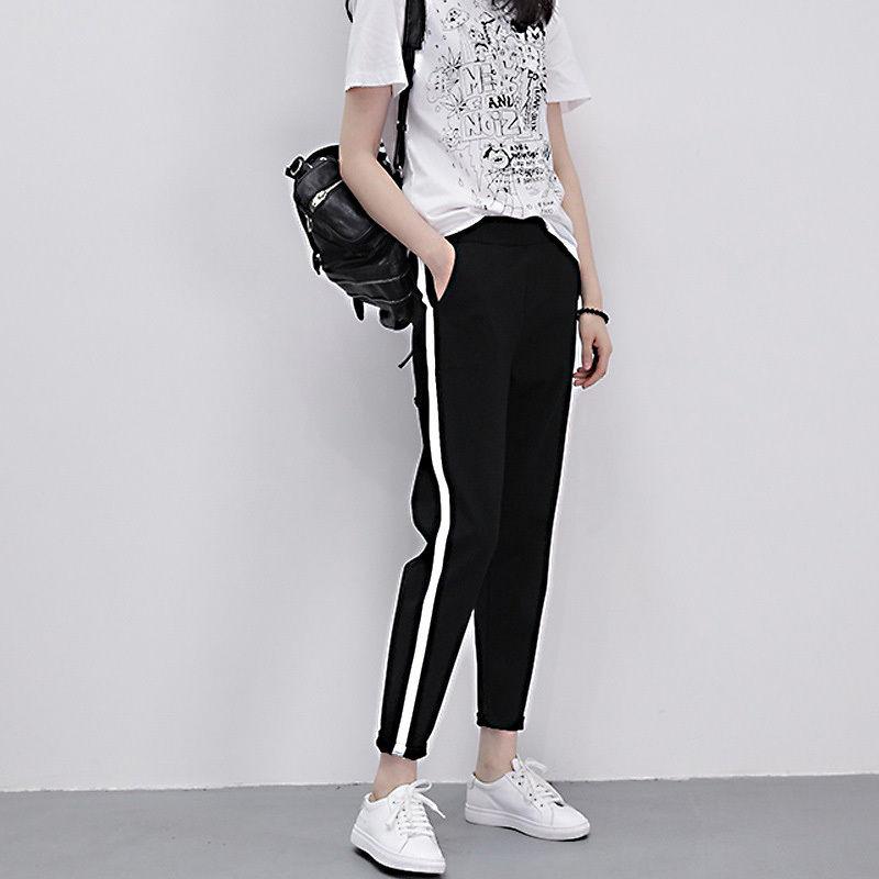 Women Striped Harem Pants Women Black Casual High Waist Pants 2018 Top Fashion Loose Trousers Pants Trousers Pantalon Femme