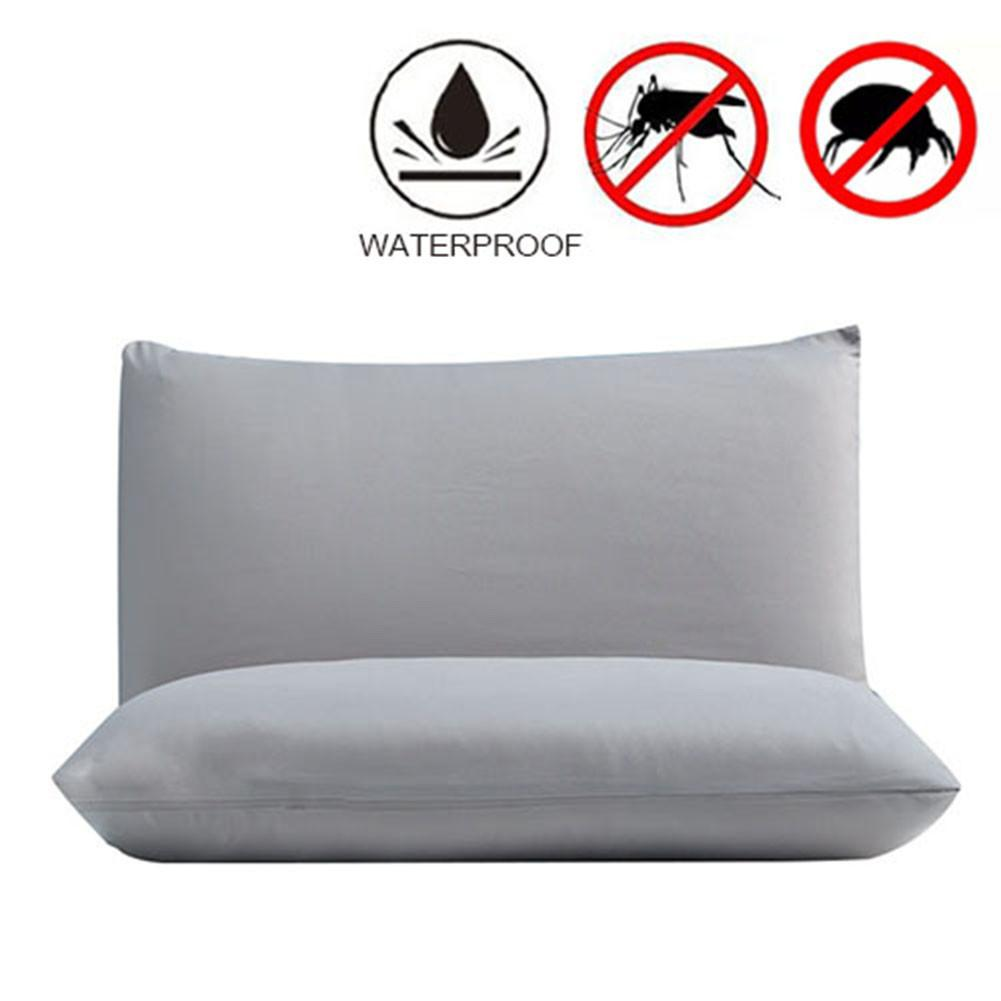 Solid Color A Pair Of Waterproof Pillow Protector Bed Bug Proof Allergy Protection Pillow Covers Breathable Pillowcases