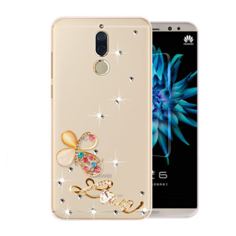 Luxury DIY Handmade Diamond Cover For Huawei Mate 10 Pro Lite Mate 9 Pro Y7 Prime 2018 Rhinestone Stand Holder Back Phone Case