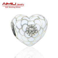 Silver 925 High Quality White Enamel Heart Flower Charms Pendant Love Beads Jewelry Making Bracelets Bangles