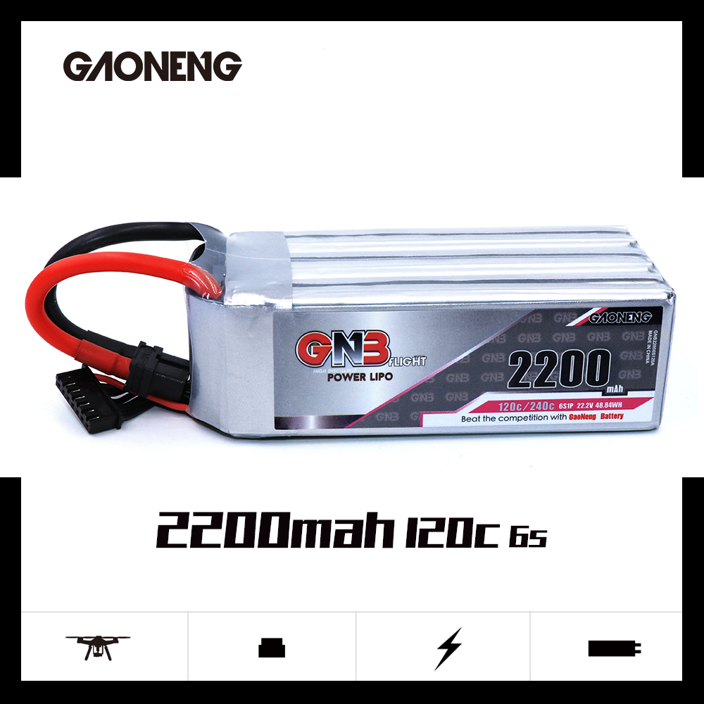 Gaoneng GNB <font><b>2200mAh</b></font> 6S1P 22.2V 120C/240C <font><b>Lipo</b></font> Battery With XT60 Plug for FPV Drone Quadcopter Helicopter UAV RC Parts image