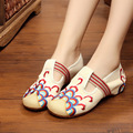 Chinese BeiJing Women Embroidery Shoes Old Peking Mary Jane Soft Sole Casual Flats Plus Size 41 Beige Black Blue Dance Shoes