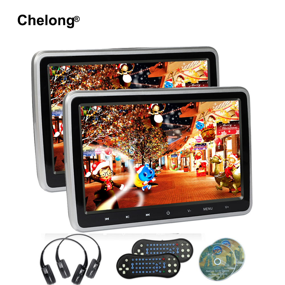 2PCS 10.1 Inch Car Headrest Monitor DVD Video Player USB/SD/HDMI/IR/FM TFT LCD Screen Touch Button Game RemoteWireless Headphone 2x 10 1 inch 1024 600 car headrest monitor dvd player usb sd hdmi fm game tft lcd screen touch button support wireless headphone