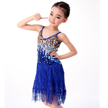 Girl Latin Dancing Dress Girls 6color Kids Dancewear S/M/L Salsa Competition Dresses Salsa Performance Dresses Free Ship