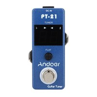 Andoer Guitar Tuner Pedal True Bypass Blue Universal Compact Professional