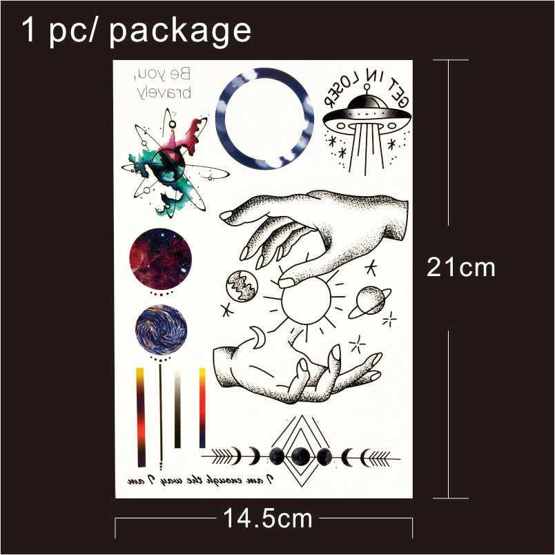 32aea9c72 ... T1809 1 Piece Space Travel Temporary Tattoo with Line, Planet,  Celestial Body,Spaceship ...