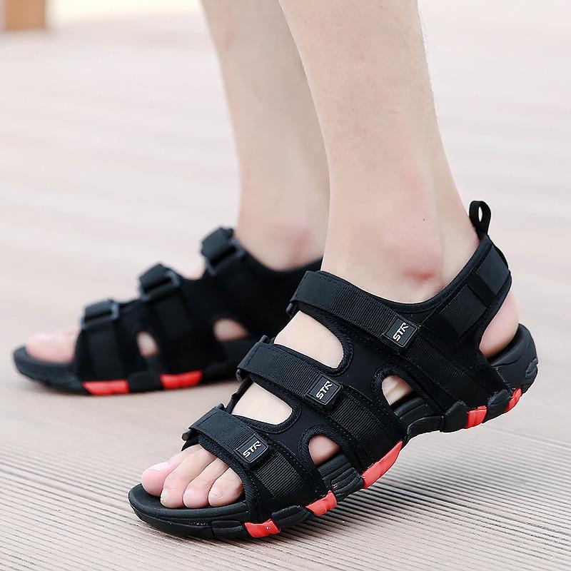 Fashion Casual Solid Gladiator Sandals for Men Basic Flat Beach Sandals Hook Loop PU Platform Sandale Homme 3