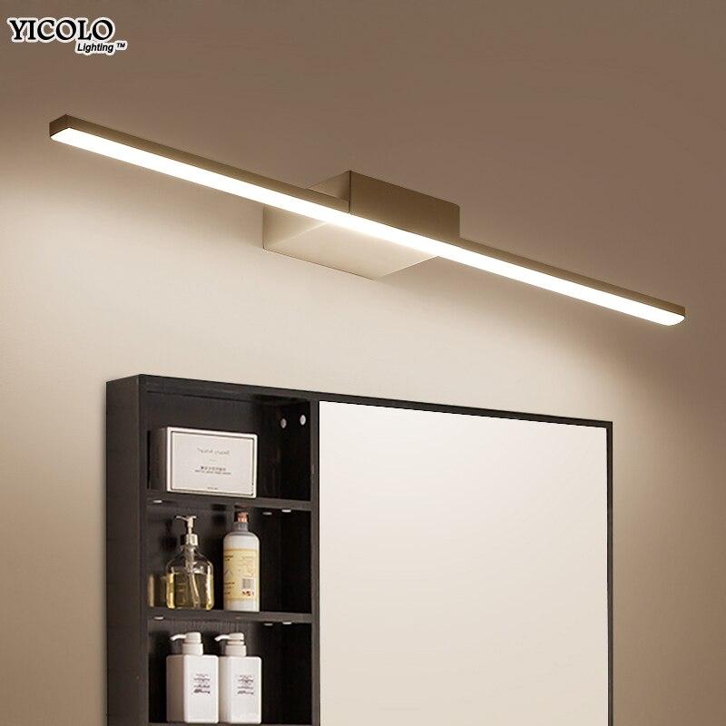 Настенный светильник светодио дный зеркало в ванной свет черный/белый 400/600/800/1000/1200 мм современный макияж Туалетная комната светодио дный зе...