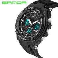 Fashion Sanda Sports Brand Watch Men S Digital Shock Resistant Quartz Alarm Wristwatches Outdoor Military LED