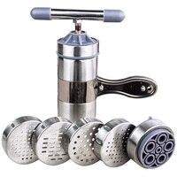 Manuelle Presse Nudel Und Pasta Werkzeug Edelstahl Handheld Noodle Maker Für Küche Werkzeug Mit 5 Klinge Messer Einfache Bedienung-in Küchenmaschinen aus Haushaltsgeräte bei
