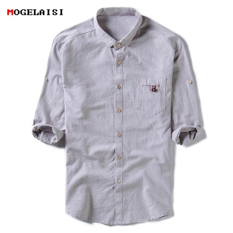 Men Shirt Half Sleeve Linen Cotton Collar XXL Gentleman Linen Shirts Men Slim Solid Autumn Mens Shirt Flax Plus size M-5XL