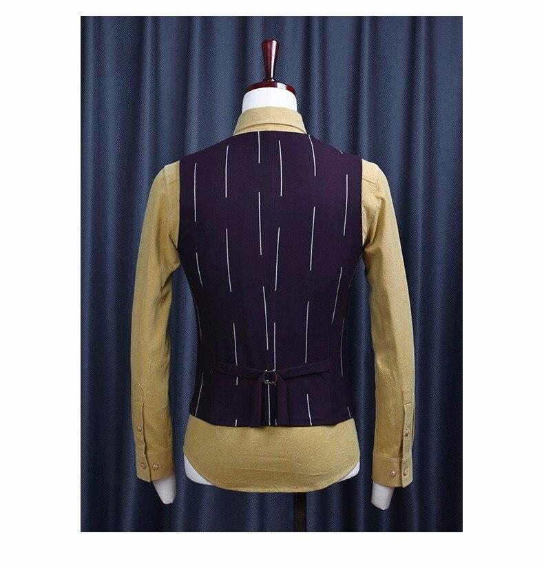 Высокое качество осенний мужской, Свадебный костюмные жилеты в полоску Тонкий Повседневный Блейзер, жилет и стиль