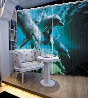 Modern Children Curtains For bedroom room Blackout 3D Curtain Photo dolphins understand world Home Decor
