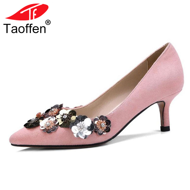 TAOFFEN Sexy Women Genuine Leather High Heel Shoes Women Kitten Heels Pumps Bling Party Shoes Spring Wedding Footwear Size 34-39 taoffen ladies leisure casual flats shoes low heels lady loafers sexy spring women brand footwear shoes size 34 42 p16166