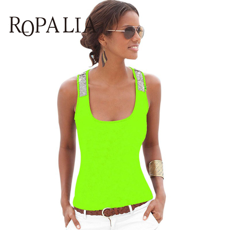 Summer Women Vest Tops Sleeveless Summer Crop Top Casual Sequin Stitching Tank Tops(China)