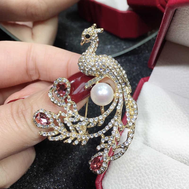 ZHBORUINI 2019 טבעי פרל סיכת נובל טווס פרל Breastpin מים מתוקים פרל תכשיטים לנשים מתנה לחג המולד אבזרים