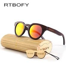 RTBOFY Wood Sunglasses Polarized Sunglasses Women Real Bamboo Wood Eyewear Mirror Lenses Round Wood sunglasses -ZB-05