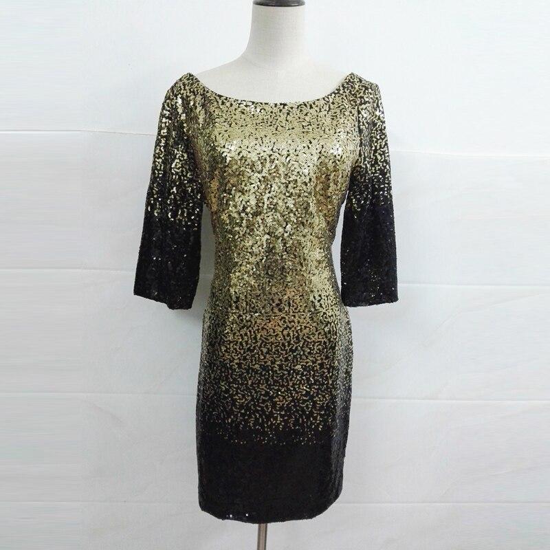 933b043a523 Golden Black Gradient Sequin Party Dress 2018 Women Spring Dress Sexy Night Club  Backless Fashion Short Mini Dresses Vestidos
