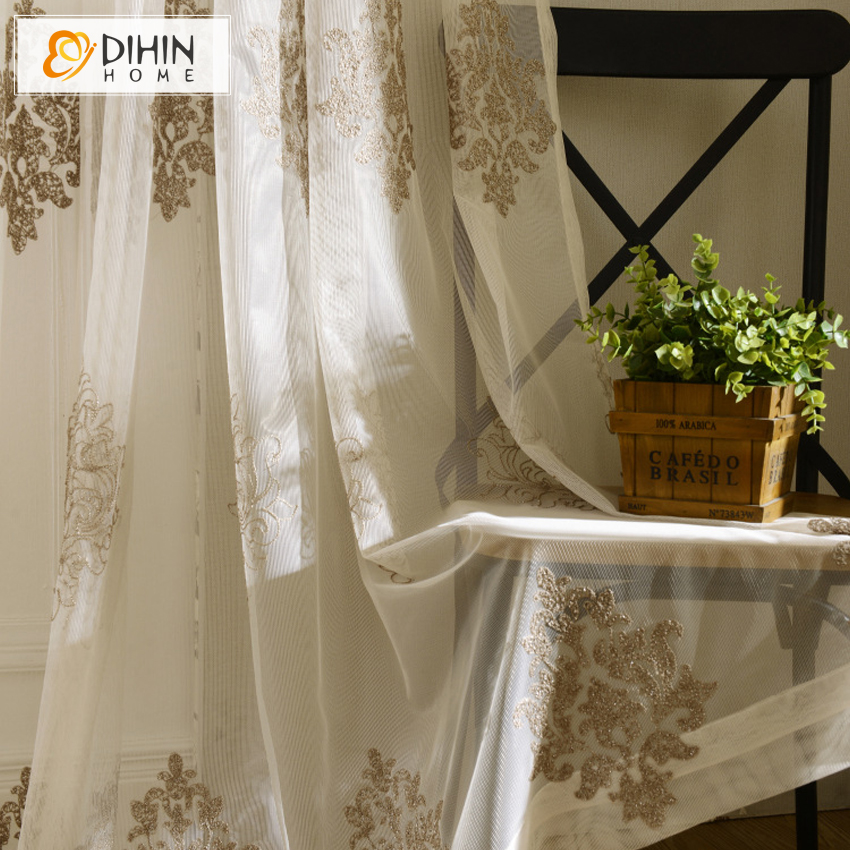 dihin 1 pc 3d european embroidered jacquard tulle voile