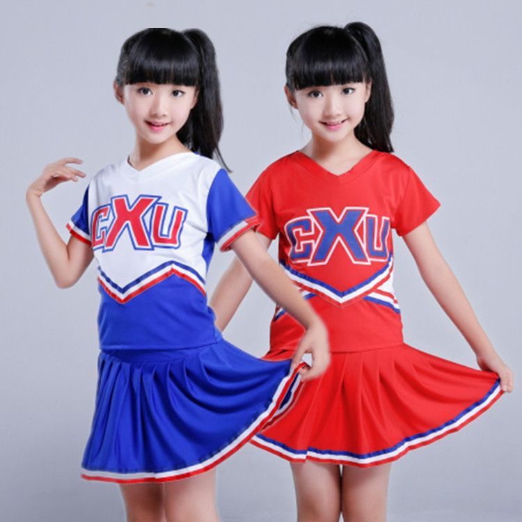 High School Boys Girls Dance Costume Cheerleader Costume Modern Dance Costumes Kids Short Sleeve Cheerleader Costume Uniforms