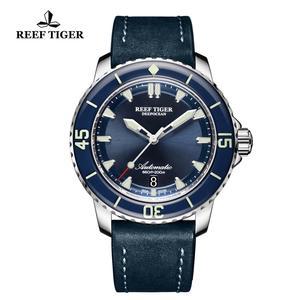 Image 5 - Neue 2020 Riff Tiger/RT Super Leucht Dive Uhren Herren Blau Zifferblatt Analog Automatische Uhren Nylon Strap reloj hombre RGA3035
