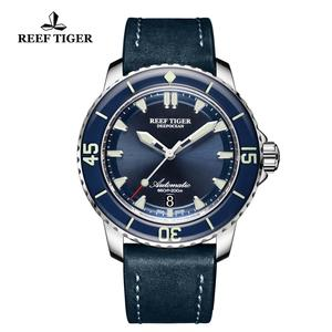 Image 5 - New 2020 Reef Tiger/RT Super Luminous Dive Watches Mens Blue Dial Analog Automatic Watches Nylon Strap reloj hombre RGA3035
