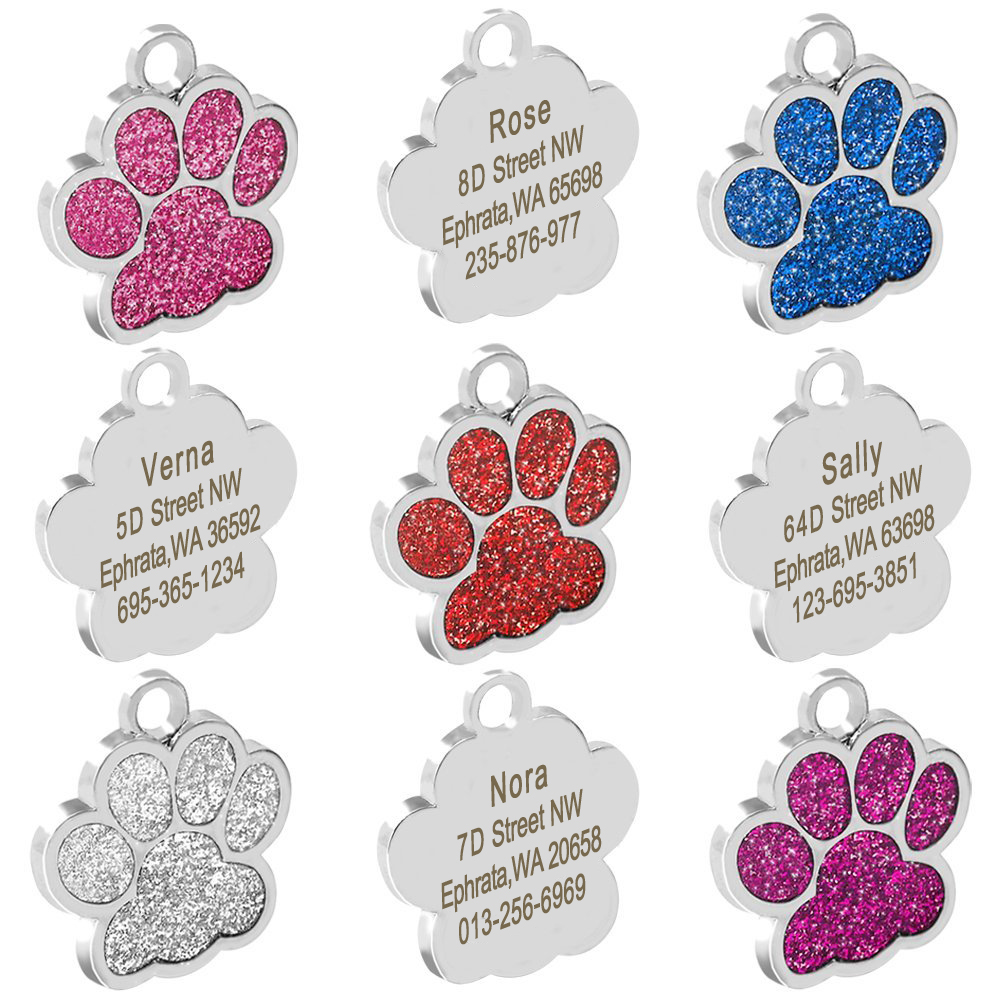 Personalized Dog Tags Engraved Cat Puppy Pet ID Name Collar Tag Pendant Pet Accessories Bone/Paw Glitter 26