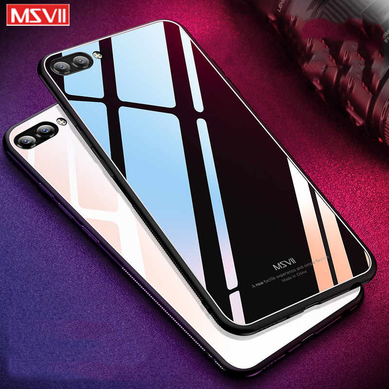 coque For Huawei honor 10 case MSVII Silicone protection case For Huawei honor View 10 Tempered glass phone back Cover V10 case