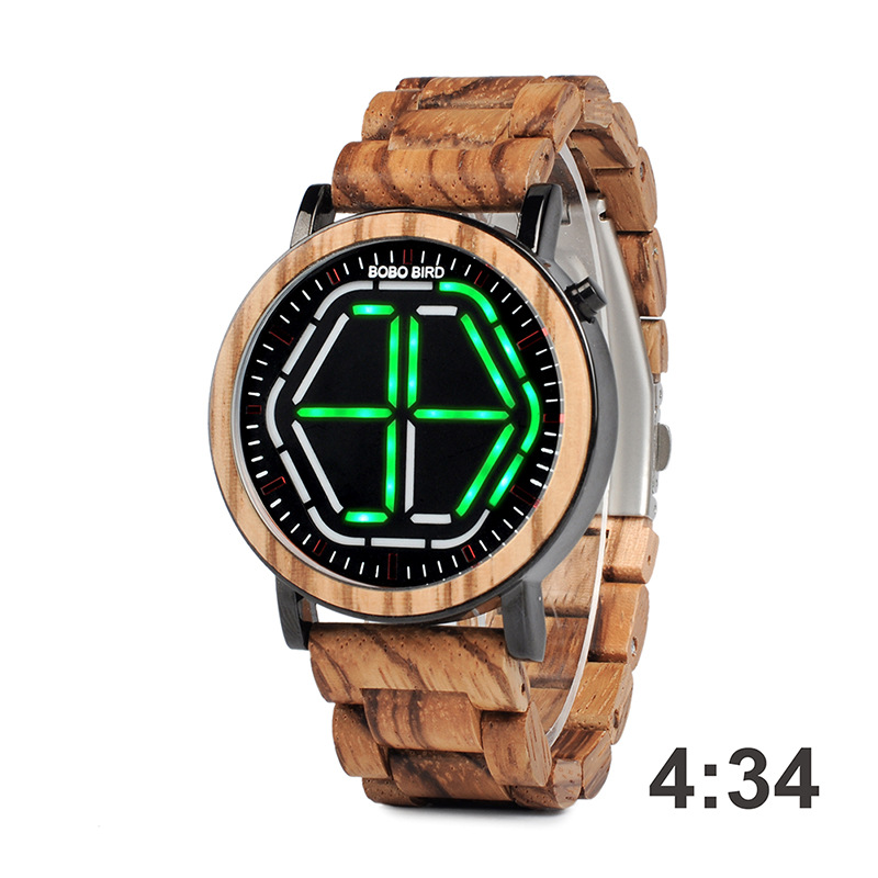 Watch Men Electronic Digital Waterproof Fashion Bobo Movement Bird Led Wooden for Luxury