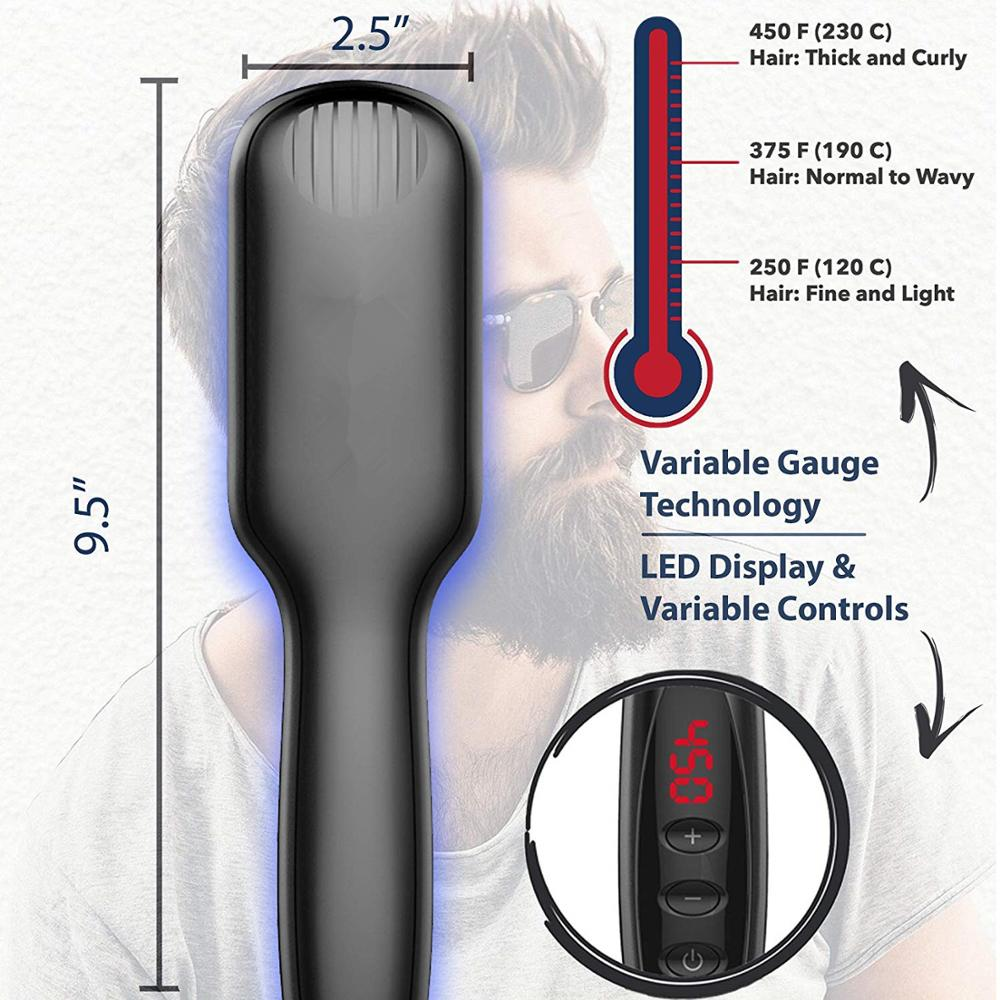 Image 4 - Electric Hair Straightening Comb Quick Beard Straightening Comb for Man Beard Straightener Brush Styling Comb Heat Brush-in Straightening Irons from Home Appliances