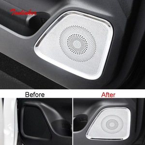 Tonlinker Interior Door Speaker Cover stickers for Mitsubishi Outlander 2013-19 Car Styling 4 Pcs Stainless Steel Cover sticker