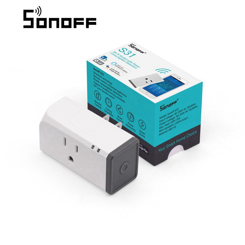 SONOFF S31 US 16A Mini Wifi Smart Socket Home Power Consumption Measure Monitor Energy Usage App Remote IFTTT Control With Alex high quanlity s31 us 16a mini wifi smart socket home power consumption measure monitor energy usage app remote ifttt control hot