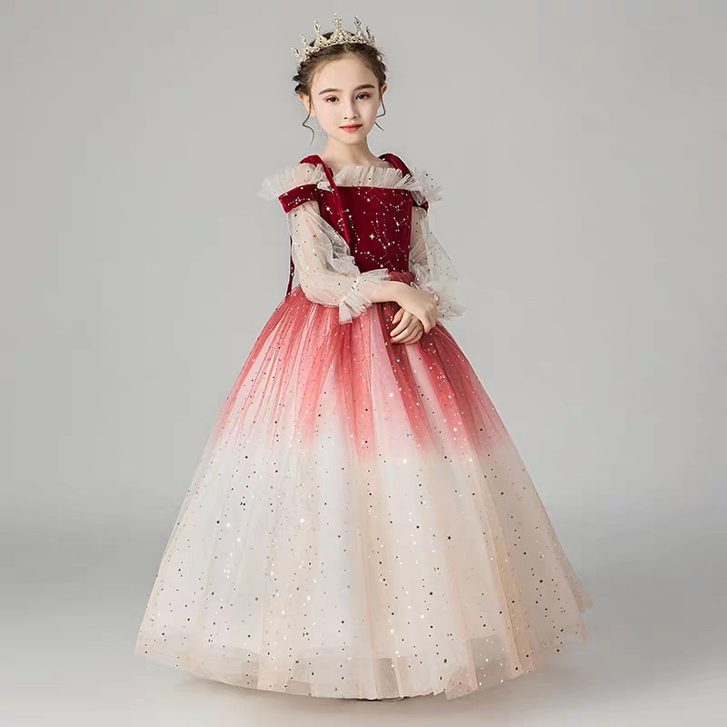 b4272c863cc5a 2019Spring Summer Luxury New Children Girls Shoulderless Sequined Birthday  Evening Party Princess Prom Dress Model Show Dress