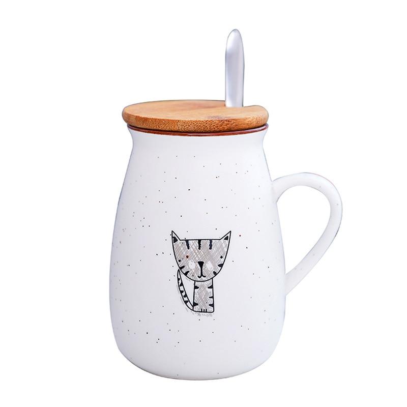 300ML Cartoon Coffee Mug Creative Covered Coffee Cup with Spoon Cute Cat Ceramic Cup